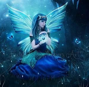 Blue fairy print, Blue fairy artwork, beautiful fairy ...