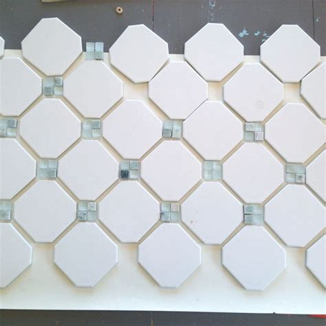 fireplace makeover octagon dot tile tiled fireplace