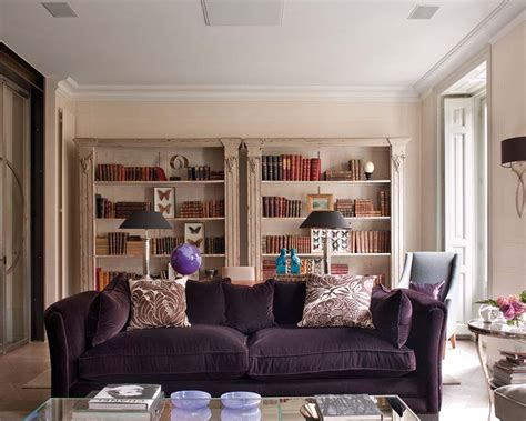 Living Room With Purple Sofa by Purple Living Room Decorating Ideas Interior Home Design