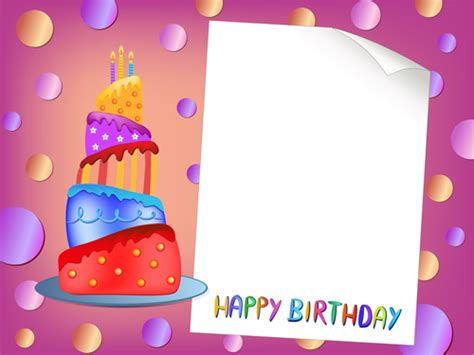 birthday card template with photo blank paper with birthday card vector 01 free