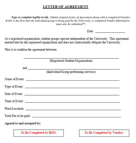letter of agreement 17 letter of agreement templates pdf doc sle