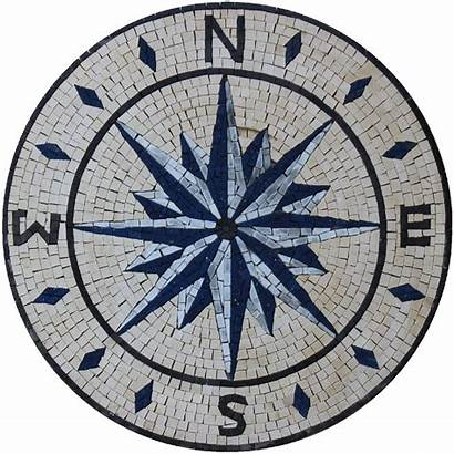 Compass Mosaic Floor Round Medallion Tile Bathroom