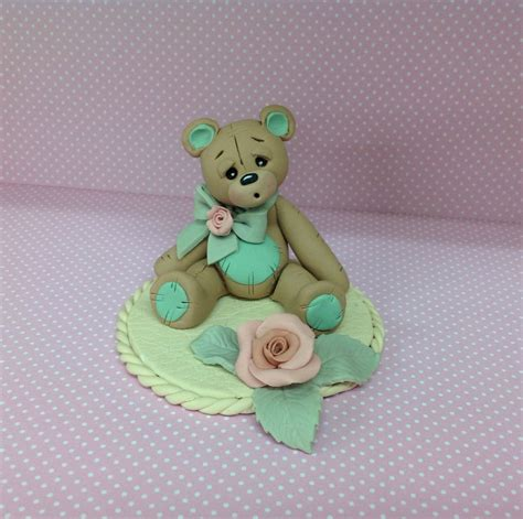 teddy cake topper gift made from fimo polymer clay sugarbuttons