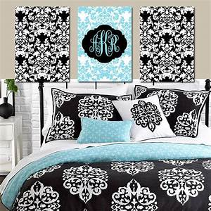 Damask wall art monogram artwork aqua from trm design