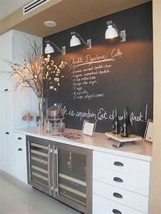 35 creative chalkboard ideas for kitchen decor digsdigs for Kitchen cabinets lowes with xmas wall art
