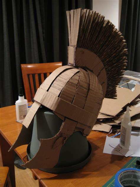 partial making  cardboard roman soldier helmet flickr