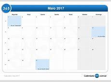 Calendário maio 2017