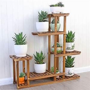 MALAYAS Wooden Plant Flower Display Stand Wood Pot Shelf