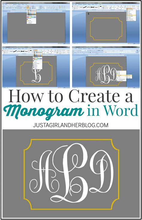 create  monogram  word