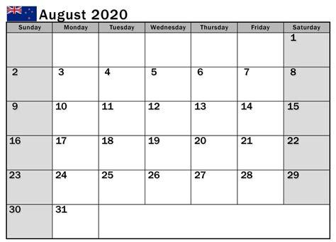 august  calendar nz templates  holidays