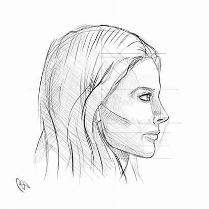 Side Profile Face Drawing Woman Sketch Line
