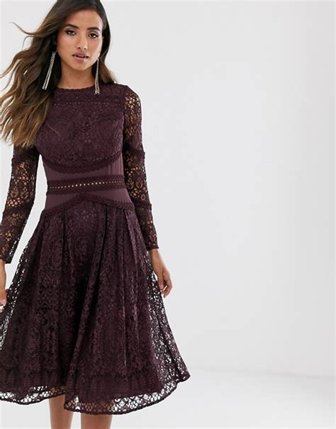 Asos Design Long Sleeve Prom Dress In Lace With Circle