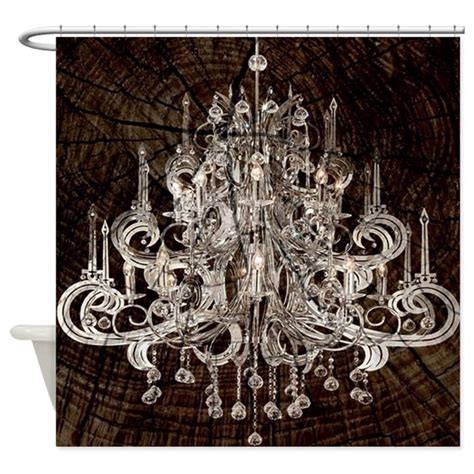 chandelier shower curtain rustic wood vintage chandelier shower curtain by listing