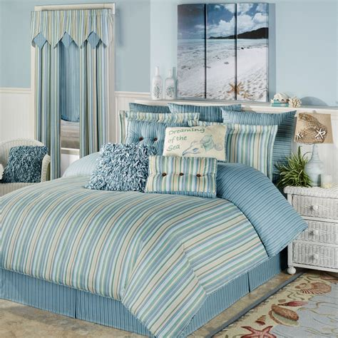 Coastal Coverlet by Clearwater Coastal Striped Comforter Bedding