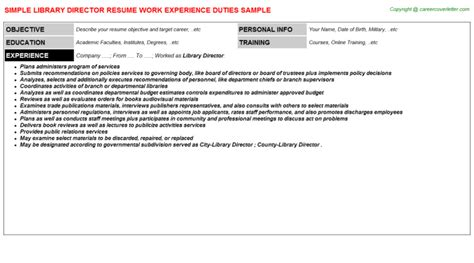 Library Director Resume by Library Director Resume Sle