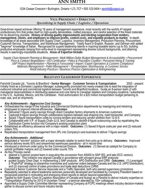 Vice President Operations Cv by Vice President Vp Or Director Of Operations Supply Chain Logistics Resume Sle Resume