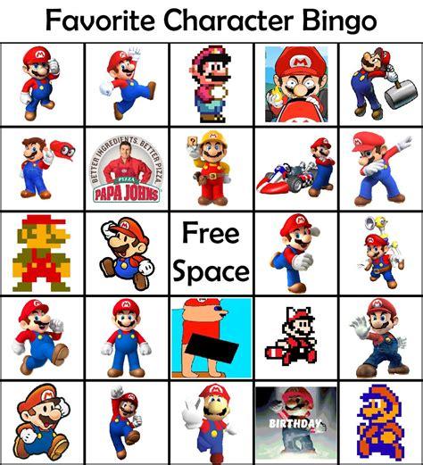 Favorite Character Bingo Template Mario Bingo Www Topsimages