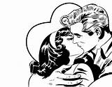 Couple Coloring Kissing Coloringcrew sketch template