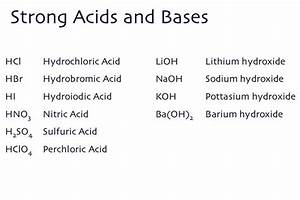 Strong Acids And Strong Bases  Acids And Bases That Are