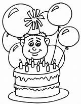 Coloring Birthday Happy Pages Balloons Printable sketch template