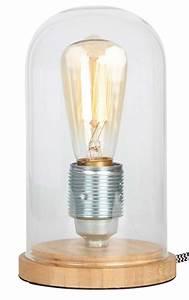 Cloche En Verre Socle Bois : lampe cloche verre socle bois de bambou ~ Teatrodelosmanantiales.com Idées de Décoration