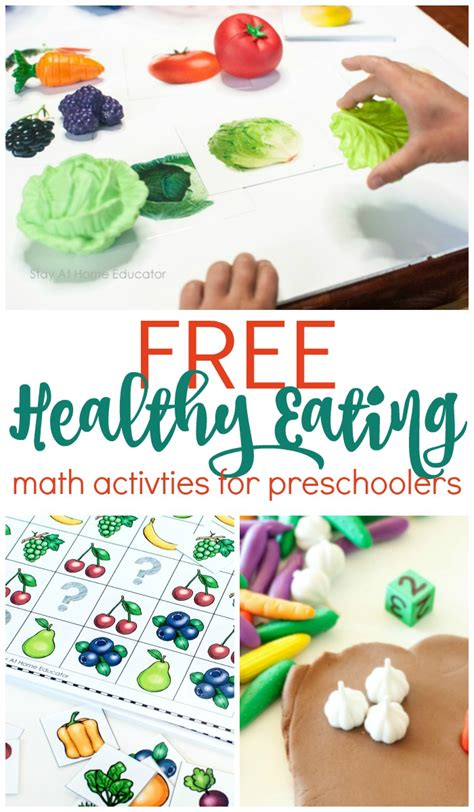 6 preschool math activities for a food and nutrition theme 787 | Free healthy eating math activities fror preschoolers