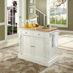 white kitchen island with top crosley furniture butcher block top kitchen island in white efurniture mart