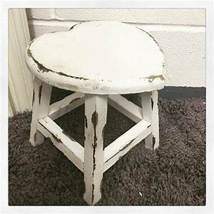 Small Shabby Chic French Vintage Distressed White Wooden