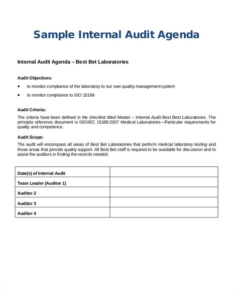 sample audit agenda  sample  format