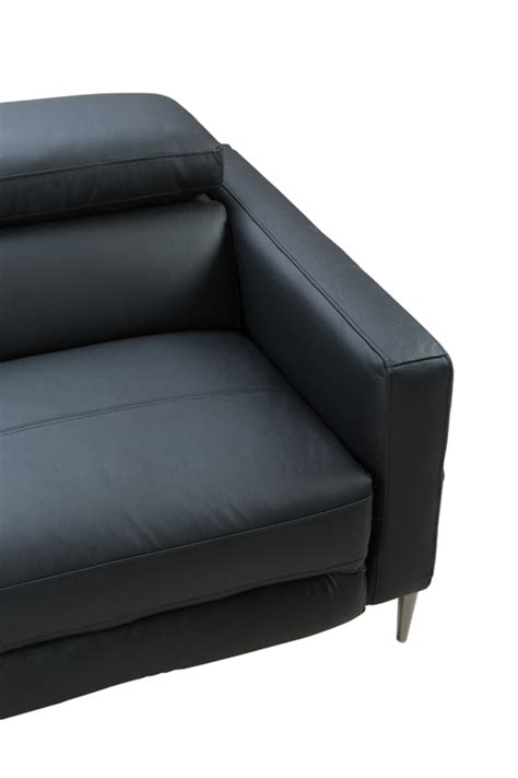 black leather sectional sofa with recliner divani casa booth modern black leather sectional w