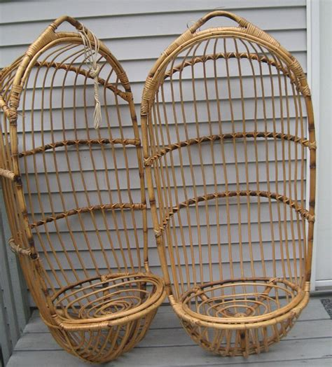 hanging chairs for lot of 2 vintage 70 39 s hanging swing bamboo wicker chair