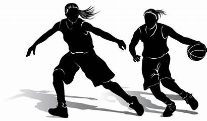 Basketball Silhouette Clipart Female Players Player Transparent