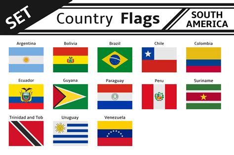 set countries flags south america countries  flags