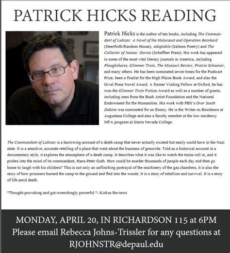 visiting writers program patrick hicks read richardson monday