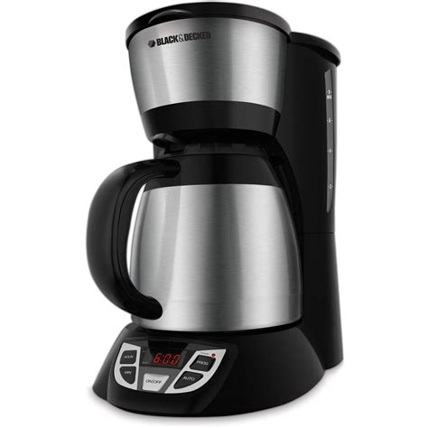 The stainless steel carafe has a comfortable handle and a dripless pour spout to make serving flavorful coffee easy. BLACK+DECKER 8-Cup Thermal Programmable Coffee Maker, Stainless Steel and Black, CM1609 ...