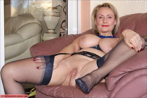 Mature Blonde With Massive Boobs Spreading Her Legs To