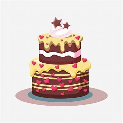 Cake Cartoon Birthday Cupcake Painted Clipart Cakes