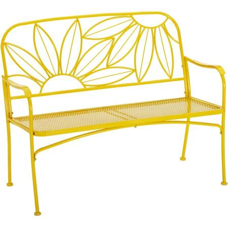 yellow outdoor bench mainstays hello outdoor patio bench yellow