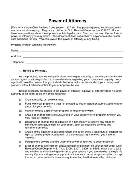 ohio power  attorney form  templates   word