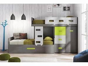 Lit Superposé Escalier : lit avec placard integre perfect lit et rangements sur ~ Premium-room.com Idées de Décoration