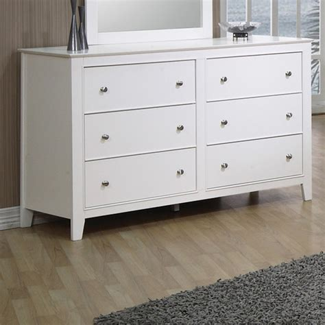 6 Drawer Dresser White by Shop Coaster Furniture Selena White 6 Drawer Dresser