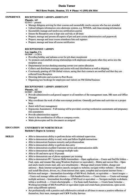 Admin Resume by Receptionist Admin Resume Sles Velvet