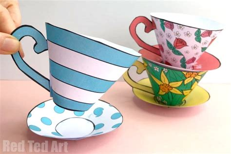 paper tea cup  mothers day red ted art