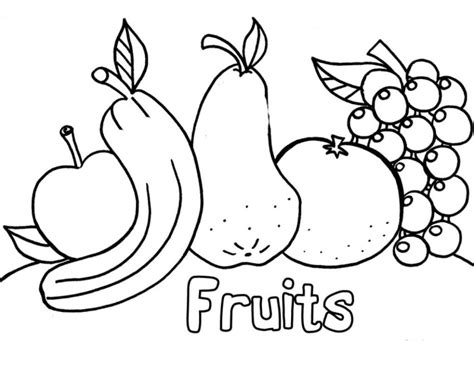 fruits downloadable coloring pages  children