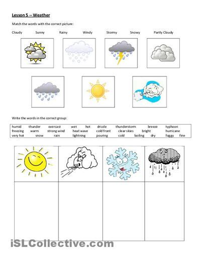 kindergarten cut and paste worksheets weather free give