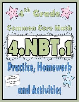 4nbt1 Practice, Homework, And Activities 4th Grade Common Core Math