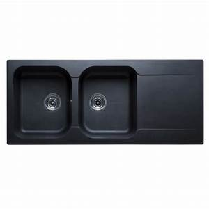 évier En Résine Noir : evier r sine noir 2c1egt avec bonde et siphon achat ~ Premium-room.com Idées de Décoration
