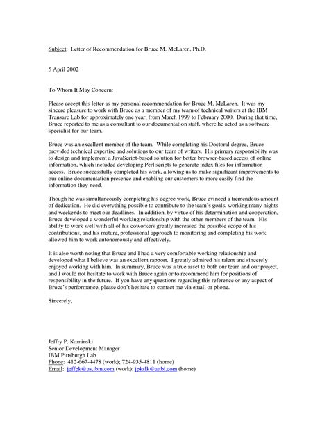 sample personal reference letter  business template