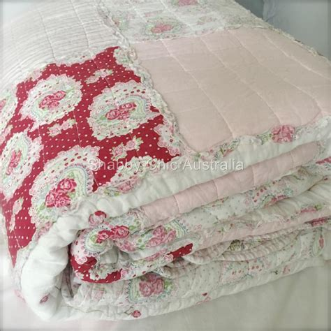 shabby chic bedding australia 3pc queen pottery pink antique barn chic shabby rag white red patchwork bed set ebay