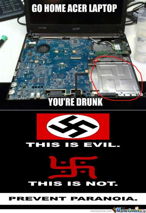 Laptop Meme - rmx nazi sign on acer laptop by dezzeh meme center